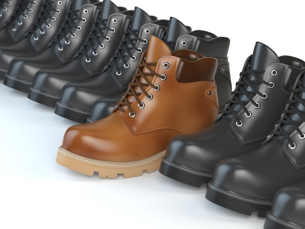 Een unieke bruine laars in de rij zwarte laarzen. marketing concept. kies de stijl, denk anders. 3d illustratie