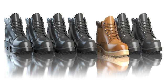 Een unieke bruine laars in een rij zwarte laarzen