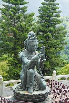 Een van de boeddhistische beelden die offers brengen aan de tian tan buddha