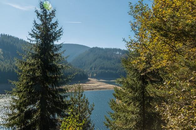 Een ver uitzicht op het meer