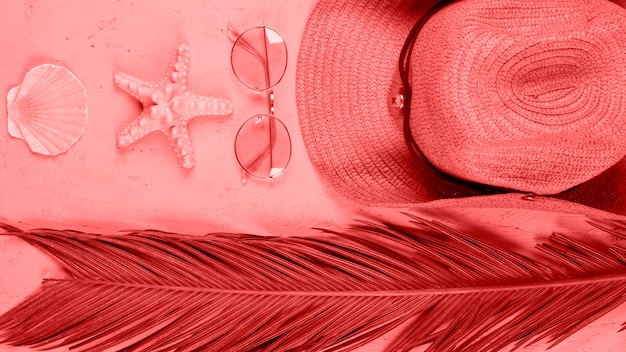 Een verhoogde weergave van sint-jakobsschelp; zeester; zonnebril; hoed en palmbladeren op koraal achtergrond