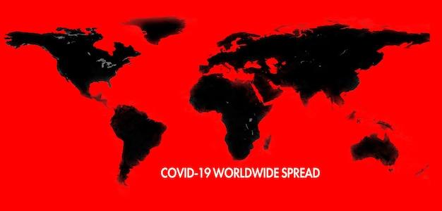 Een verspreiding van de covid-19 coronavirusziekte op de wereldwijde wereldkaart. elementen van deze afbeelding geleverd door nasa