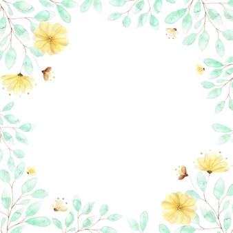 Een vierkant aquarel frame met zachte gele bloemen en twijgen van groene bladeren, een compositie van zomerbloemen op wit