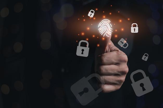 Een vingerscan aan de linkerkant, nieuwe hoogtechnologische gegevenscodering, computervergrendelingspictogram en licht, beveiligings- en beschermingsconcepttechnologie
