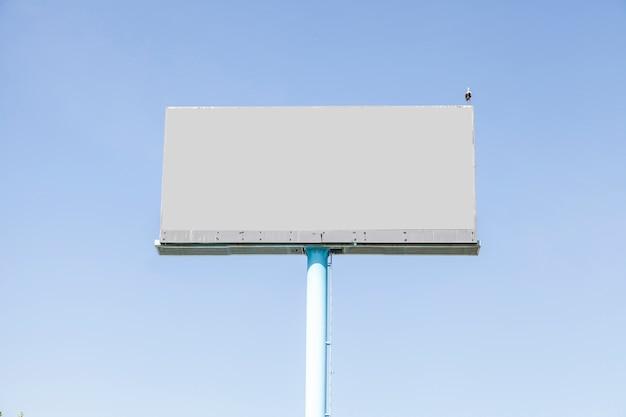 Een vogel die op grijs leeg aanplakbord tegen blauwe hemel neerstrijkt
