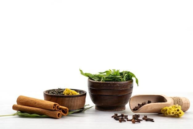 Een vooraanzicht kaneel en munt alogn met verse thee op wit, de kleur van ingrediëntenkruiden
