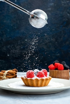Een vooraanzicht kleine heerlijke cake met room en fruit in een witte plaat, samen met vers fruit dat suikerpoeder krijgt op de grijsblauwe fruitcake op het bureau