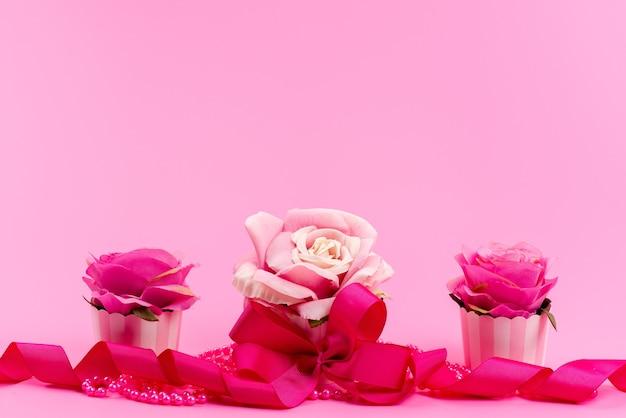Een vooraanzicht roze, bloemen ontworpen met elegantie op roze, bloem plant kleur