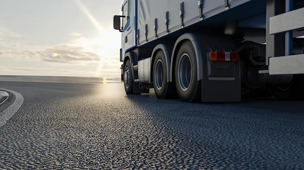 Een vrachtwagen rijdt over de weg. 3d-beeld, 3d-rendering. Premium Foto