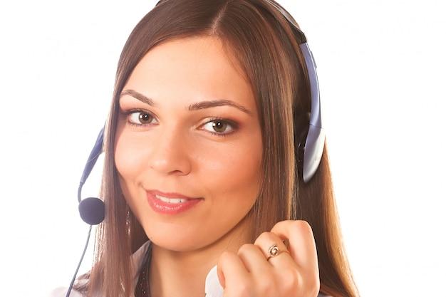 Een vriendelijke secretaresse of een telefoonexploitant