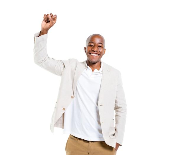 Een vrolijke smart casual man vieren