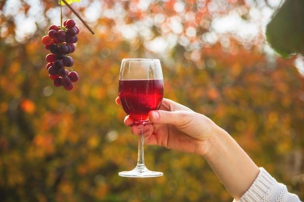 Een vrouwelijke hand houdt een glas wijn naast een tros druiven.
