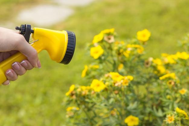Een vrouwelijke hand houdt een sproeier voor het besproeien van planten