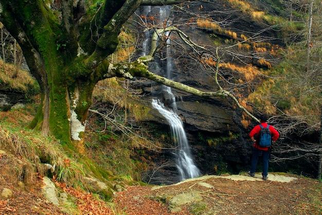 Een wandelaar observeert de uguna-waterval. natuurpark gorbeia. baskenland. spanje