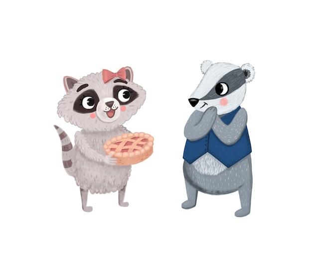 Een wasbeer met een taart kwam op bezoek bij een das. cartoon kinderen illustratie met dierlijke karakters.