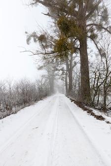 Een weg bedekt met sneeuw in het winterseizoen