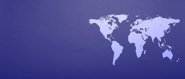 Een wereldkaart op fantoom blauw papier achtergrond
