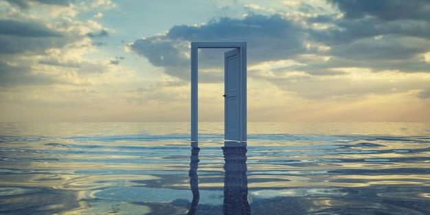 Een witte deur in de zee, 3d-rendering