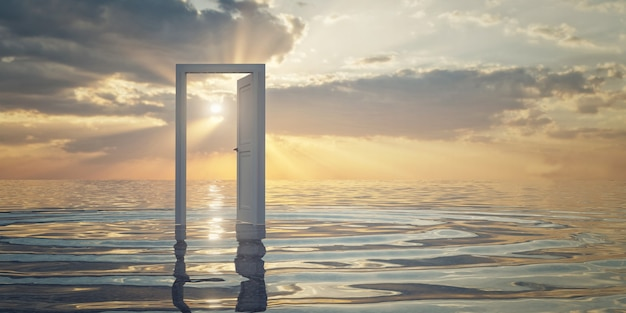 Een witte deur op het water, prachtige zonsondergang achtergrond, 3d-rendering