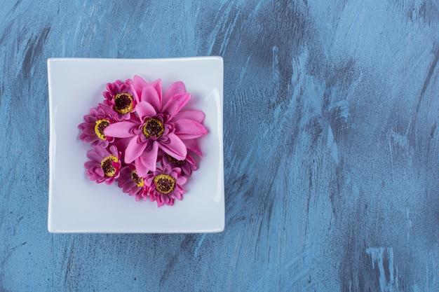 Een witte plaat met paarse bloem op blauw.