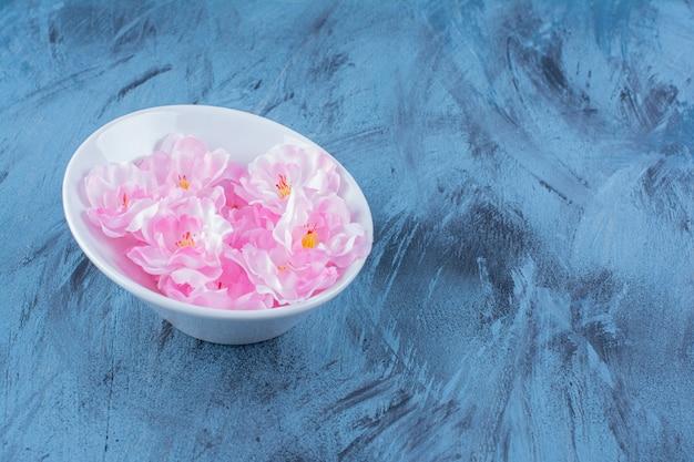 Een witte plaat met roze bloemblaadjes op blauw.