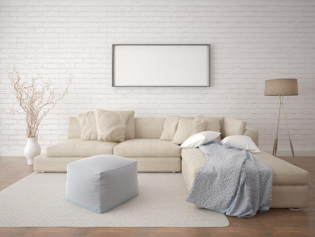 Een woonkamer met een hipsterachtergrond