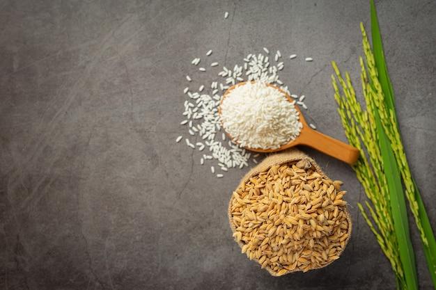 Een zak rijstzaad met witte rijst op kleine houten lepel en rijstplant