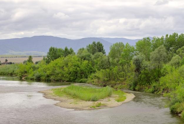 Een zandig eiland in de rivierbedding, een beboste kust onder een zomerse bewolkte hemel. siberië, rusland