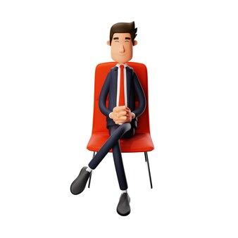 Een zelfverzekerd 3d cool male cartoon design zittend op een stoel