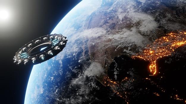 Een zicht op de aarde en een ruimteschip vanaf satelliet met behulp van geavanceerde technologie