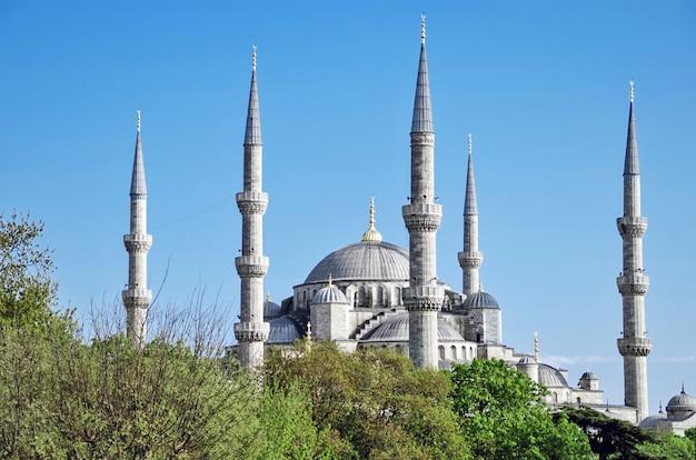 Een zicht op de blauwe moskee in istanboel