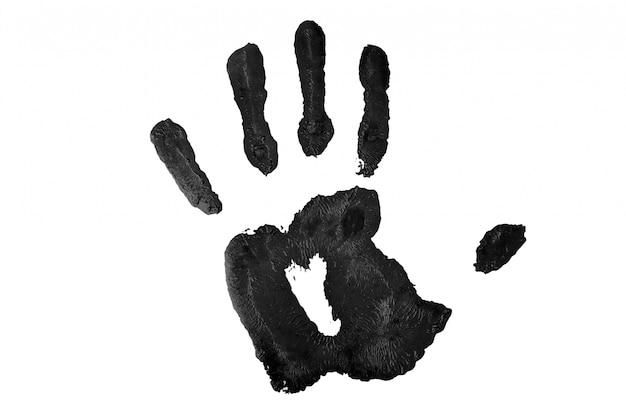Een zwarte handafdruk