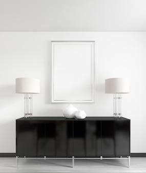 Een zwarte ladekast met metalen poten met nachtlampjes, vazen en een foto erboven, mocap poster. 3d render