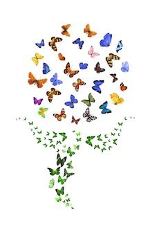 Een zwerm vlinders in de vorm van een paardenbloem. tropische vlinder. hoge kwaliteit foto