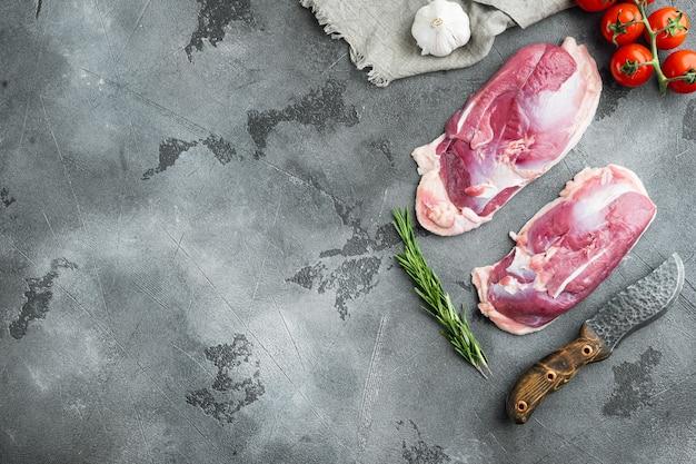 Eendenborst rauwe filet vlees set, met kruiden en ingrediënten, op grijze steen