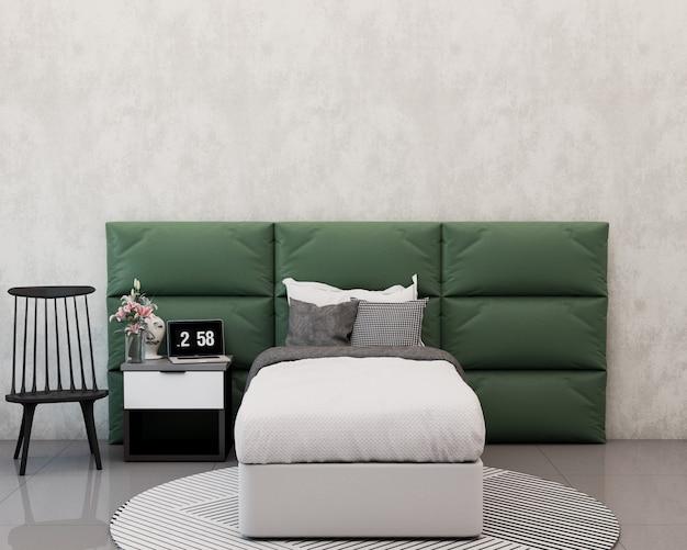 Eenpersoonsbed kamer met kussens stoffen hoofdeinde computer bloemen en decoratie op het nachtkastje stoel en tapijt 3d-rendering