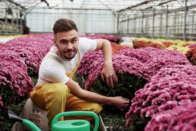Eens kijken wat erin zit. foto van mooie jonge kerel in de serre die roze gekleurde bloemen behandelt.