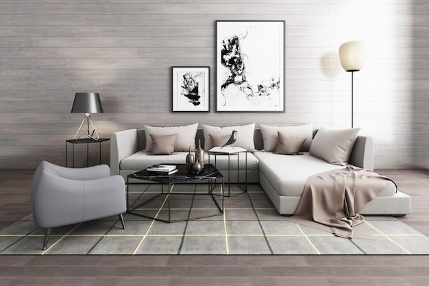 Eenvoudig binnenmeubilair in europese stijl