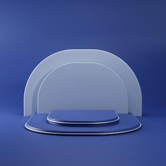 Eenvoudig blauw podium met metalen lijn