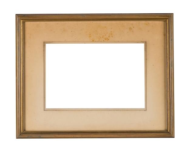 Eenvoudig houten frame met gouden randen