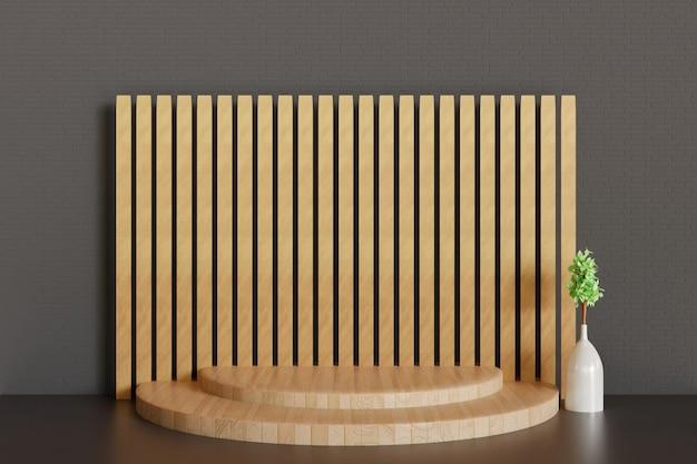 Eenvoudig houten voetstuk of podiumachtergrond, 3d teruggegeven podium voor productshowcase