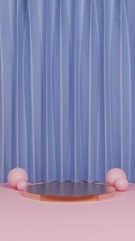 Eenvoudig kleurrijk podium met gordijn