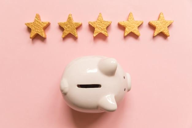 Eenvoudig minimaal ontwerp spaarvarken gouden sterren geïsoleerd op roze