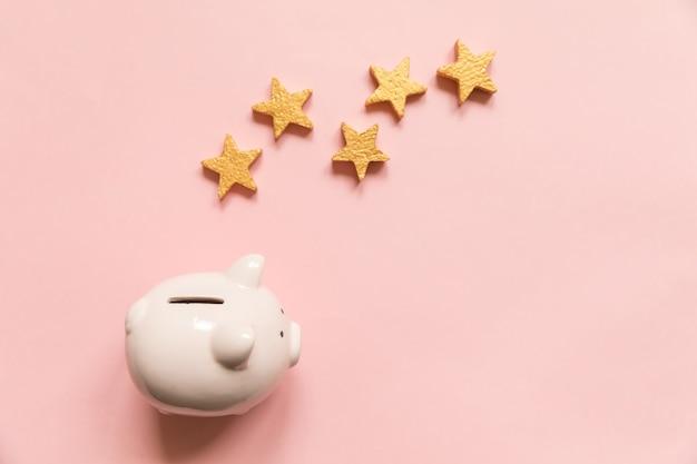 Eenvoudig minimaal ontwerp spaarvarken vijf gouden sterren geïsoleerd op roze