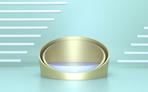 Eenvoudig minimalistisch zachtgroen gouden cilinderpodium voor productweergave