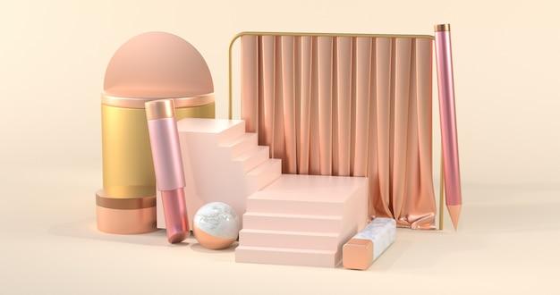 Eenvoudig ontwerpconcept van schoonheidsproducten met elegante pastelkleuren. 3d-rendering.