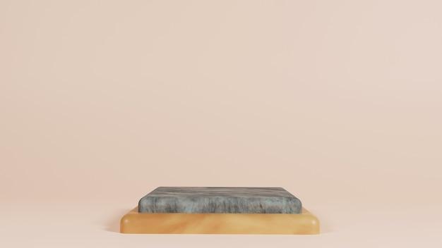 Eenvoudig steen en hout podium