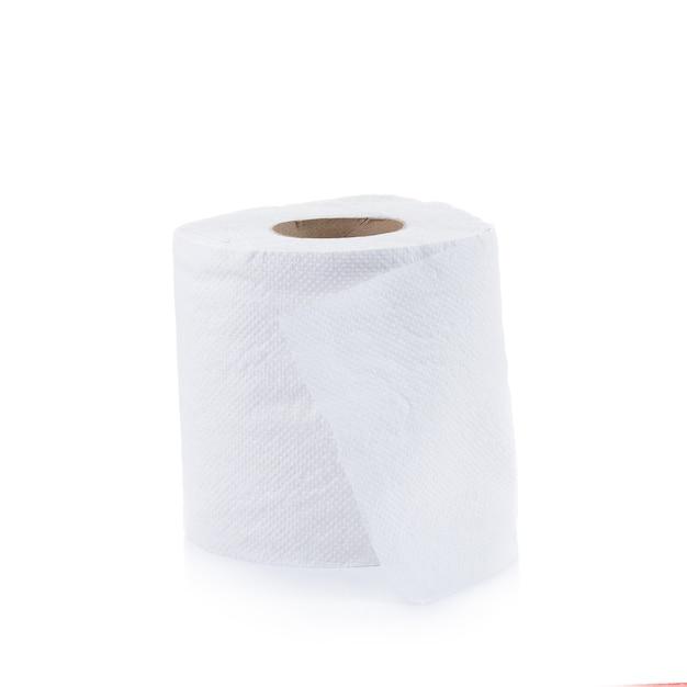 Eenvoudig toiletpapier dat op wit wordt geïsoleerd
