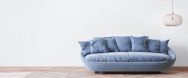 Eenvoudig woonkamerontwerp, stijlvolle blauwe bank en rotan plafondlamp op een moderne witte achtergrond