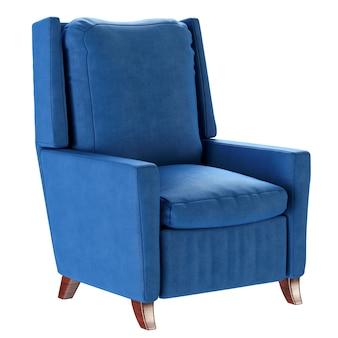 Eenvoudige blauwe fauteuil in scandinavische stijl met houten poten. zacht meubilair. 3d render illustratie.